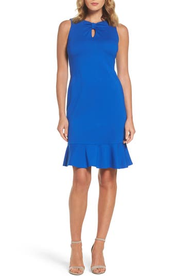 Taylor Dresses Ruffle Hem Sheath Dress, Blue