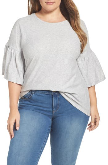 Plus Size Vince Camuto Relaxed Bell Sleeve Cotton Tee, Grey