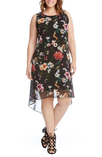Plus Size Kane Kane Floral High/low Dress, Black