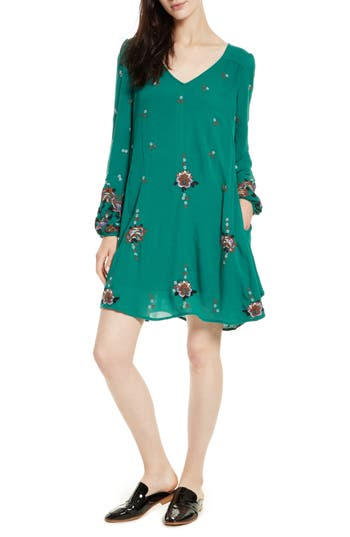 Free People Embroidered Minidress, Green