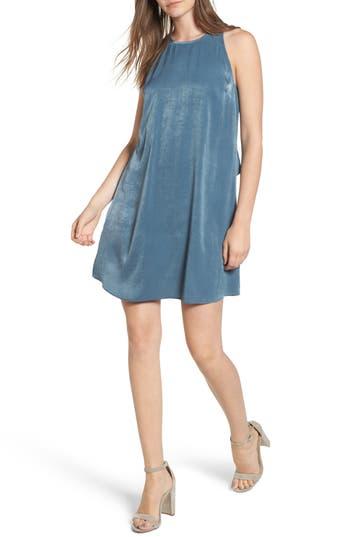 Everly Ruffle Back Satin Shift Dress, Blue