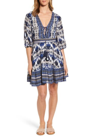 Kas New York Camille Mixed Print Fit & Flare Dress, Blue