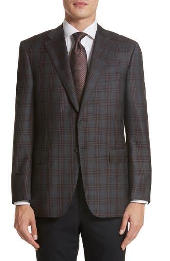 Big & Tall Canali Classic Fit Plaid Wool Sport Coat, 0 L EU - Grey