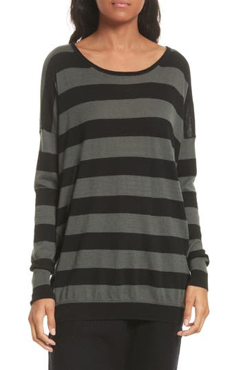 Vince Wide Stripe Wool & Cashmere Sweater, Green