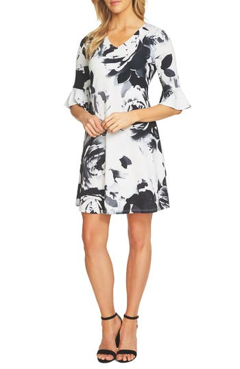 Cece Floral Print Bell Sleeve Dress, Black