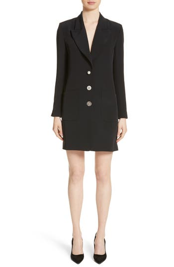 Adam Lippes Satin Crepe Tuxedo Dress, Black
