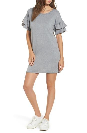 Women's Dee Elly Ruffle Knit Shift Dress, Size Small - Grey