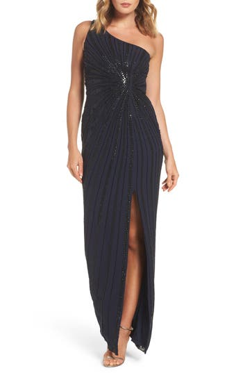Adrianna Papell Embellished One-Shoulder Column Gown, Blue