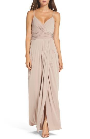 Amsale Celina Mock Wrap Gown, Beige