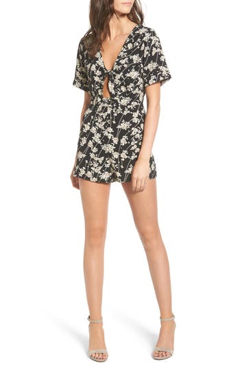 Women's Dee Elly Floral Print Tie Front Romper, Size X-Small - Black