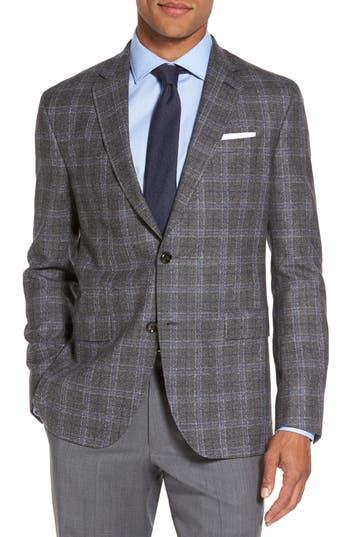 Ted Baker London Tivoli Trim Fit Plaid Wool Sport Coat, S - Grey