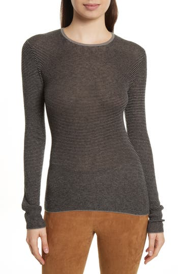 Women's Vince Stripe Skinny Ribbed Cashmere Sweater, Size X-Small - Grey