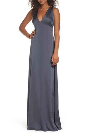 Monique Lhuillier Bridesmaids Dasha Tie Back Sateen Gown, Grey