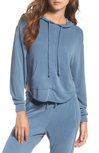 Free People Fp Movement Back Into It Cutout Hoodie, Blue