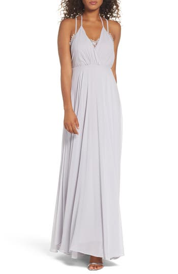 Lulus Celebrate The Moment Lace Trim Chiffon Maxi Dress, Grey