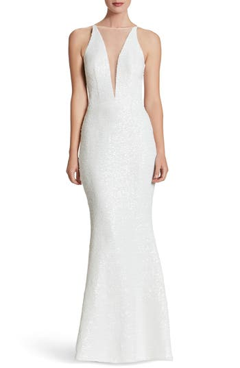 Dress The Population Brenda Plunging Illusion Sequin Mermaid Gown, White