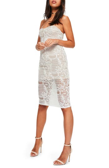 Missguided Strapless Lace Dress, US / 6 UK - White