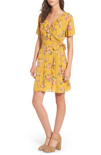 Women's Love, Fire Floral Gauze Wrap Dress, Size X-Small - Yellow