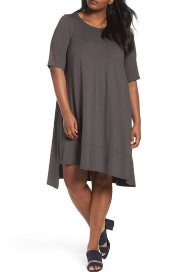 Plus Size Eileen Fisher Jersey Shift Dress, Brown