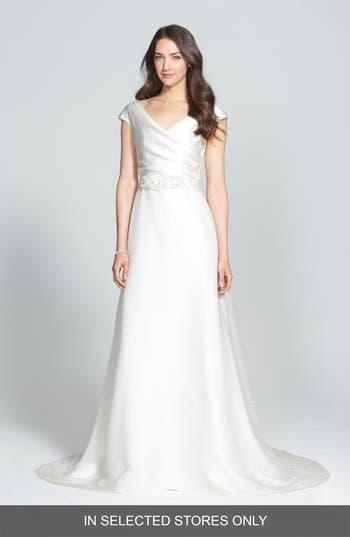 Jesus Peiro Embellished Waist Draped Satin Dress