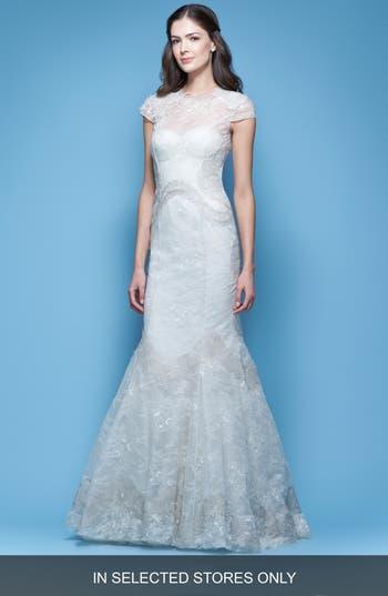 Carolina Herrera Jessica Illusion Cap Sleeve Chantilly Lace Mermaid Gown