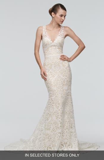 Watters Georgia Back Cutout Lace Trumpet Gown