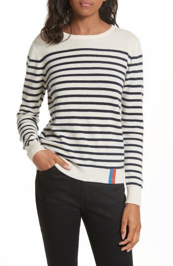Women's Kule Stripe Cashmere Sweater, Size X-Small - Ivory