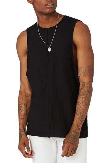 Topman Seamed Slub Cotton Tank, Black