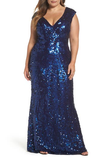 Plus Size MAC Duggal Sequin Plunging V-Neck Gown, Blue