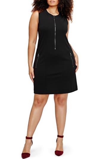 Plus Size Michel Studio Zip Front Shift Dress, Black