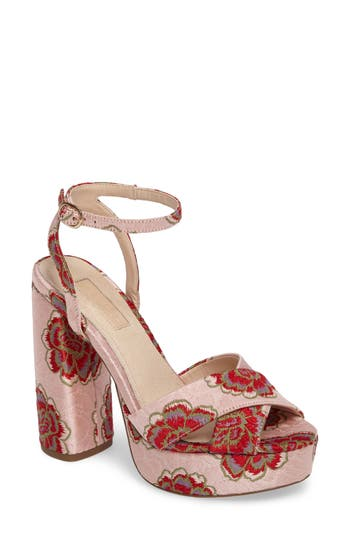 Women's Topshop Lollie Embroidered Sandals, Size 5.5US / 36EU - Pink