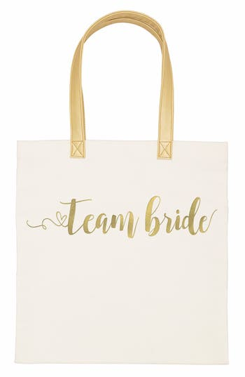 Cathy'S Concepts Team Bride Canvas Tote - White