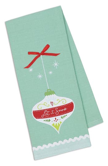Design Imports Let It Snow Embroidered Dish Towel, Size One Size - Green
