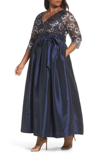 Plus Size Eliza J Lace & Faille Gown, Blue