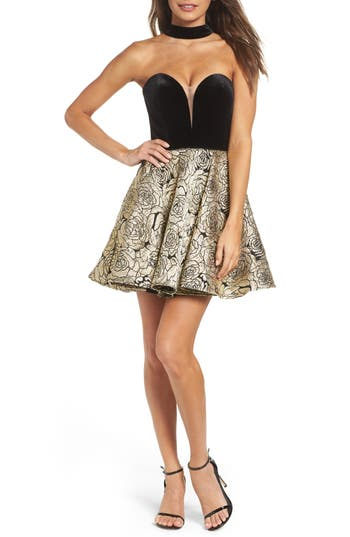 La Femme Choker Illusion Skater Dress, Black