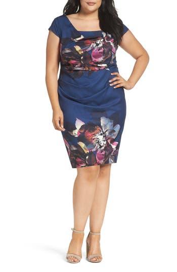 Plus Size Adrianna Papell Magnolia Drape Front Sheath Dress, Blue