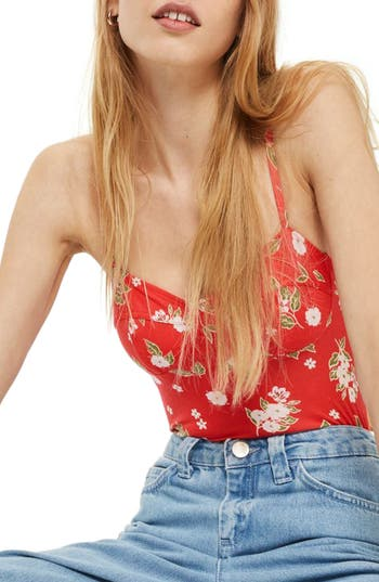 Women's Topshop Wire Cup Floral Bodysuit, Size 4 US (fits like 0-2) - Pink