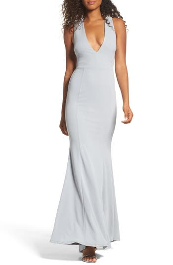 Lulus Heaven & Earth Plunge Neck Gown, Grey