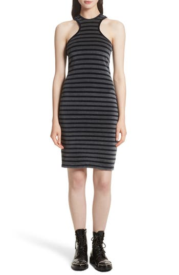 T By Alexander Wang Stripe Velour Racerback Dress, Grey