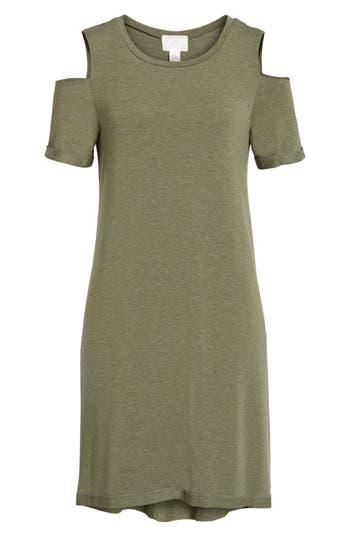 Caslon Cold Shoulder Shift Dress, Green