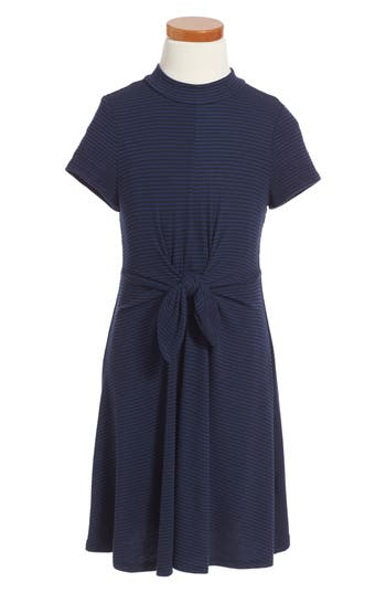 Girl's Soprano Tie Front Stripe Dress, Size S (8-10) - Blue