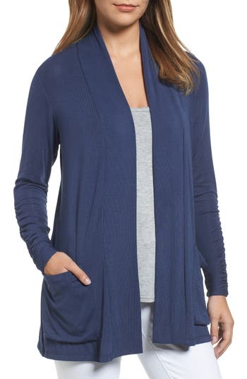 Women's Bobeau Ruched Sleeve Cardigan, Size X-Small - Blue