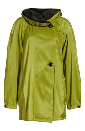 Women's Mycra Pac Designer Wear 'Mini Donatella' Reversible Pleat Hood Packable Travel Coat, Size 00 - Green