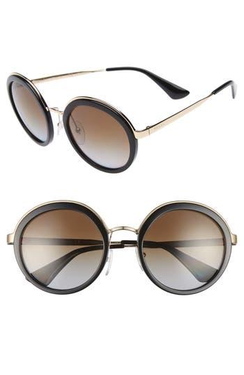 Women's Prada 54Mm Polarized Round Sunglasses -