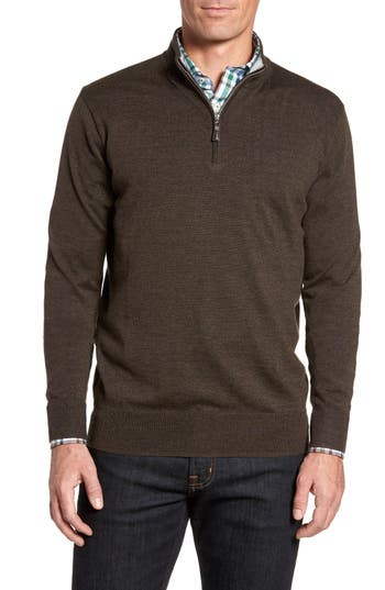 Peter Millar Crown Soft Merino Blend Quarter Zip Sweater, Metallic