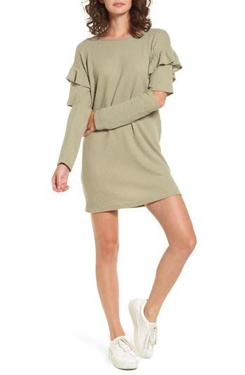 Everly Ruffle Sleeve Knit Dress, Green