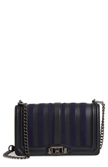 Rebecca Minkoff Love Stripe Quilted Crossbody Bag - Blue