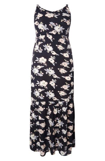 Plus Size Evans Floral Ruffle Hem Maxi Sundress, US / 18 UK - Blue