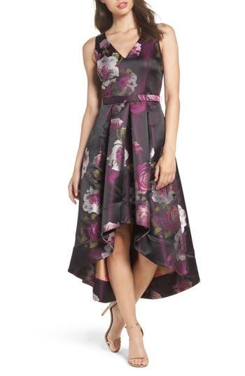 Eliza J Belted Print High/low Party Dress, Purple
