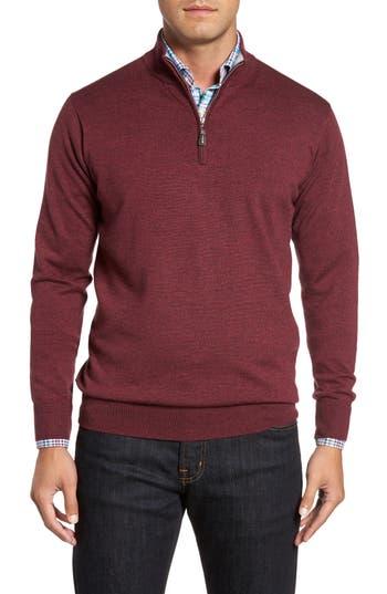 Peter Millar Crown Soft Merino Blend Quarter Zip Sweater, Red